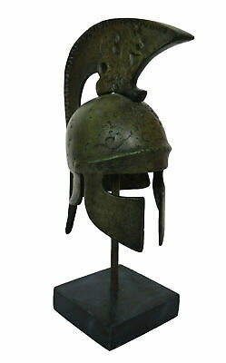 Athenian Bronze small Helmet with Griffin Design - Ancient Greece - Marble Base