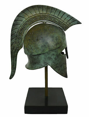 Corinthian Bronze small Helmet on Marble Base with Meander Design