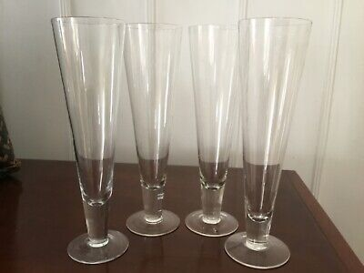 "Vintage Pilsner Beer Glasses, Footed, 10"", Set Of 4"