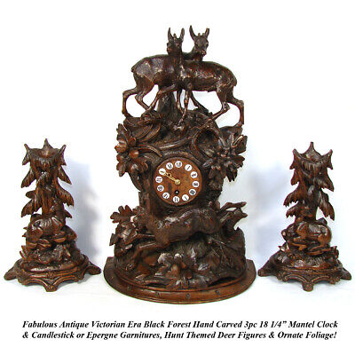 "Rare Antique Black Forest 18"" Mantel Clock & Candlestick or Garniture Set, Hunt"