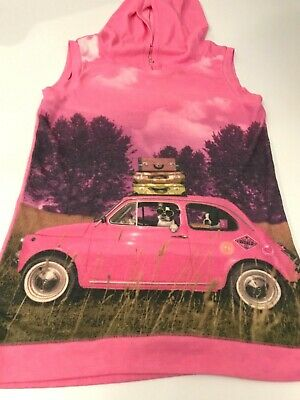 Justice Girls Sleeveless Hoodie Top Hot Pink Dogs in Car  Size 16 EUC