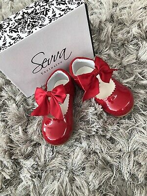 Sevva kirsty red spanish sparkle bow patent leather girls shoe 4 5 6 7 8 9 10 11