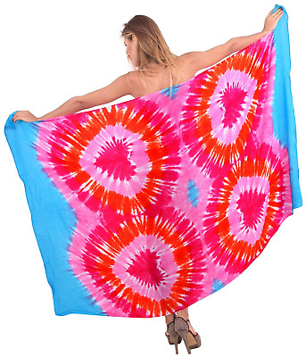 LA LEELA Hand Tie Dye Gentle Rayon Hearts Beach Cover up Sarong 78X43 Inch Pink