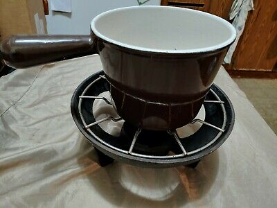 Vintage Le Creuset Brown Enamelware Fondue Set w/Cast Iron Stand Burner France