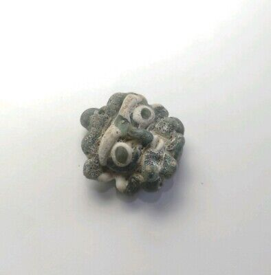Ancient Glass Face Bead Near Western Islamic Bread Man Antique Amulet Sassanian