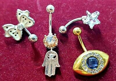 Belly Button Body Piercing Bars Crystal
