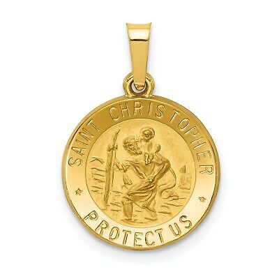 14k Yellow Gold Polished and Satin St. Christopher Medal Pendant (0.6INx0.5IN)