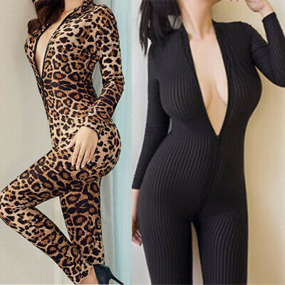 Womens Striped Leopard Rompers Printed Bodysuit Sexy Long Sleeve Jumpsuits Club