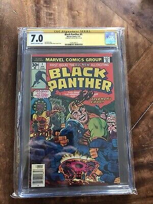 CGC SS 7.0 Black Panther #1 Signed Stan Lee Bronze Age Gem 1st Solo Title 1977 !