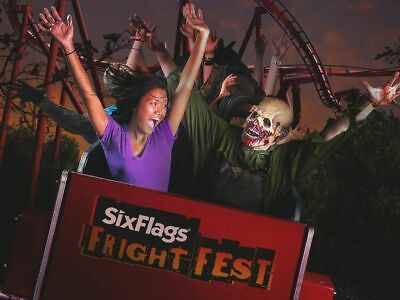 TWO Six Flags Amusement Park One Day Pass 2019 Tickets! GOOD FOR FRIGHT FEST!