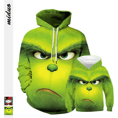 Parent-Child Men's Christmas Snowman Grinch Loose Baseball Sweater Tops Boys