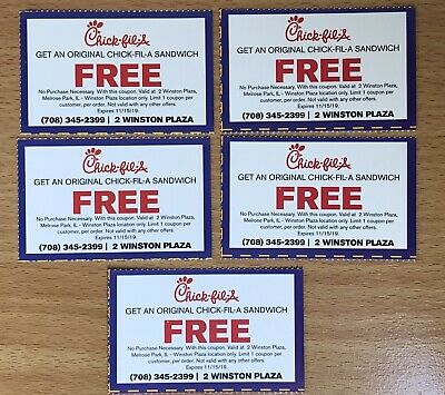 Lot of 5 Original Chick-fil-A Sandwich Coupons Valid In Melrose Park, IL Only