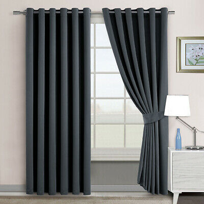 2X Blockout Blackout Thermal Insulate Window Curtains Panel 3 Layers Pure Fabric