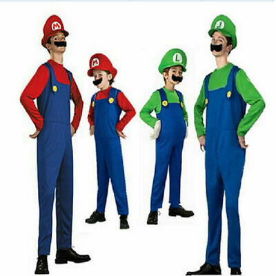 Mens Boys Super Mario Luigi Brother Plumber Cosplay Outfit Halloween Fancy Dress