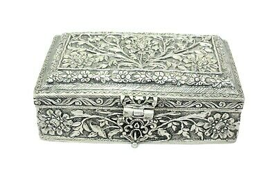 Antique Handmade Decorative Trinket Box Solid SILVER Hand Carved Engraved Floral