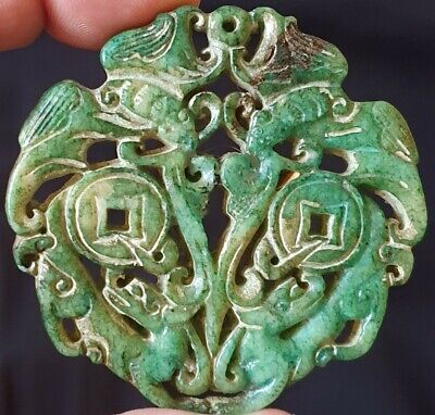 Chinese carved dragons bats pendant. Mythical amulet. Jade hardstone. 6.5cm high