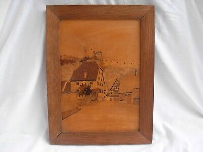 Vintage French Alsacian Inlaid Wood Panel,Signed.