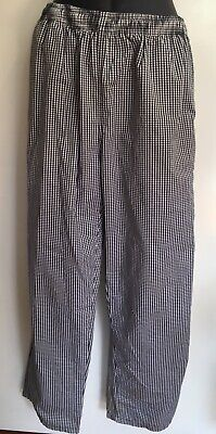 New DNC Chef Black & White Chequered Drawstring Work Pants Size Medium