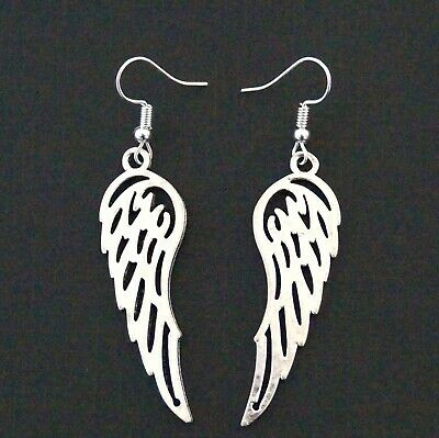Large Angel Wings Tibetan Silver Drop Earrings Boho Wicca Pagan Silver Protectio