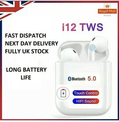i12 TWS WIRELESS BLUETOOTH 5.0 EARPHONES TOUCH CONTROL AIRPODS EARBUDS UK SELLER