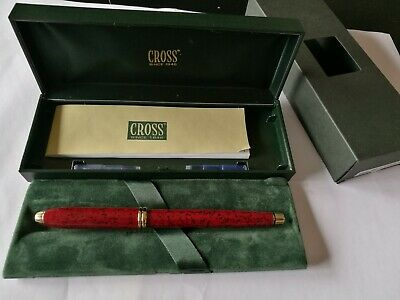 Cross Townsend Fountain Pen cardinal red lacquer NOS MINT with converter