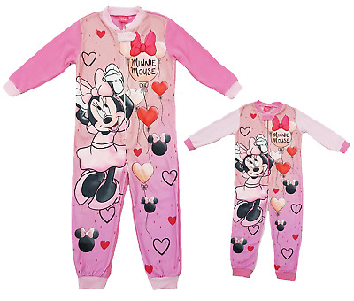 Disney Minnie Mouse All In One Girls Minnie Pyjamas Nightwear Onezee Age 3-8 Ys