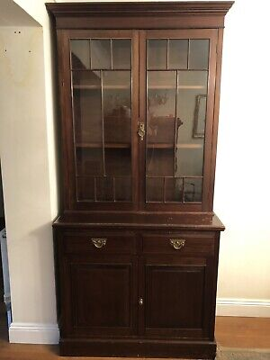 A Tall Victorian Bookcase/Display Cabinet In Mahogany Two Glass Fronted Doors