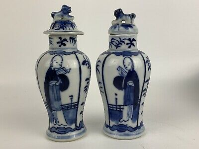 Marvelous Pair of Chinese Blue & White Vases with Figures & Flowers Qing