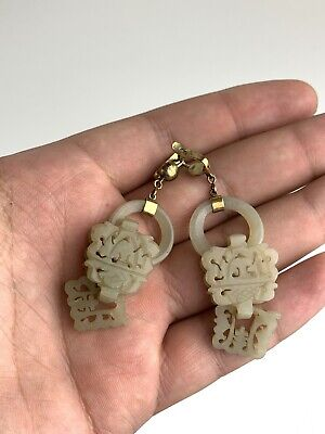 Beautiful Antique Chinese White Jade Pair of Earrings Qing NO RESERVE !!