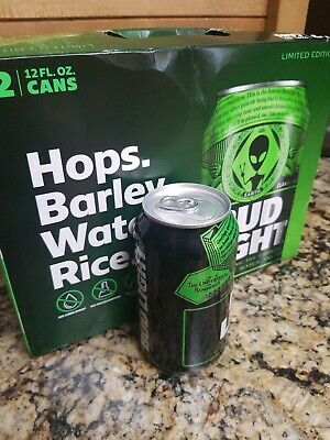 Empty 12 Pack LIMITED EDITION Bud Light Earth Cans Alien Area 51 Box included