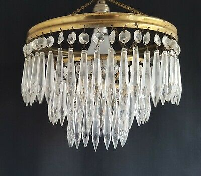 Vintage Brass & Crystal Glass Lustre Waterfall Chandelier Pendant Ceiling Light