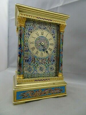 french carriage clock quarter hour calendar champlevé