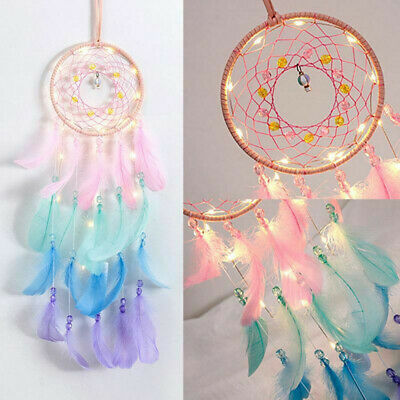 Wall Hanging Dream Catcher Night Light Feathers Wind Chime Dreamcatcher Decor
