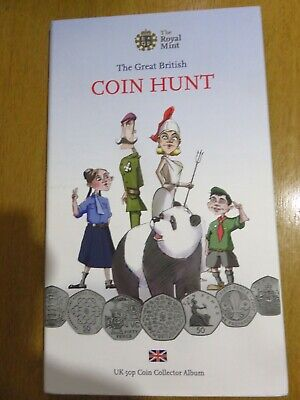 The Great British 50P Coin Hunt Album With 12 50P Coins