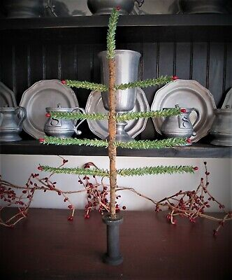 Primitive Christmas faux German feather tree with red pips