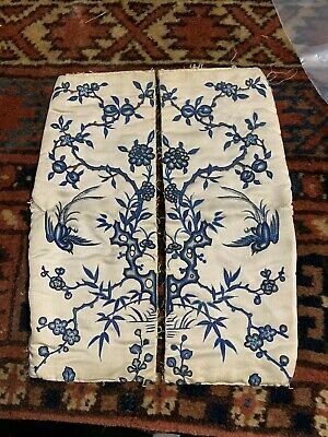 Beautiful Pair Of Chinese Silk Sleeve Bands with Birds Qing Peking Knot