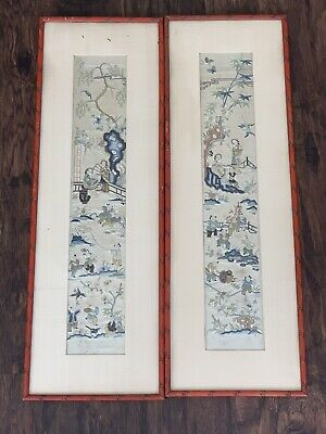Beautiful Pair Of Chinese Silk Sleeve Bands With People Satin Stitch Qing