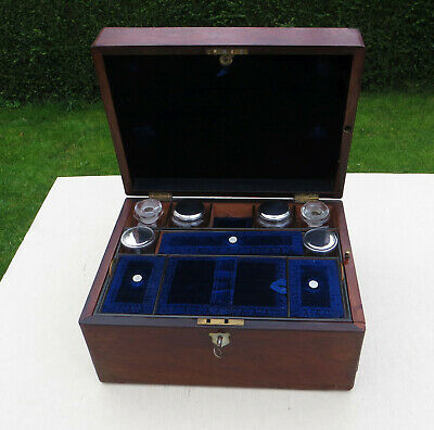 Early Victorian Fitted Rosewood or Similar Vanity/Dressing Box - Key & Contents