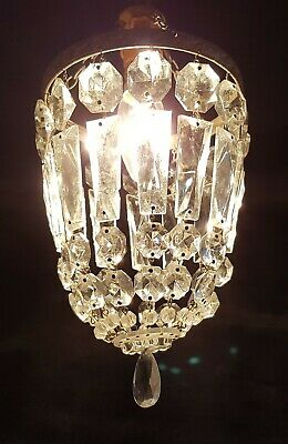 Vintage Brass & Crystal Glass Lustre Prisms Chandelier Pendant Ceiling Light