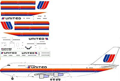 United  late 80s  Boeing  747-400 Airliner Decal 1:144 scale for Revell kit