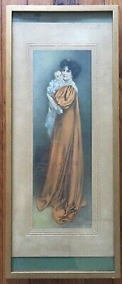 Antique 1910s J Knowles Hare Framed Print | Mother with Baby Portrait