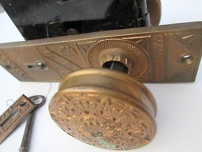 Ornate Brass Victorian Door Knob Combination W/Key, Back Plate & Escutcheons