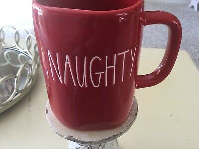 "New RAE DUNN Holiday Christmas LL ""NAUGHTY NICE"" Red Double Sided Mug By Magenta"