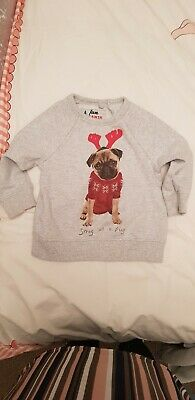 Girls Boys Next Christmas Pug Reindeer Jumper - Age 3 Years - Snug As A Pug