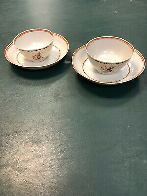 Pair Chinese  Export Tea Cups With Saucers 18th Century
