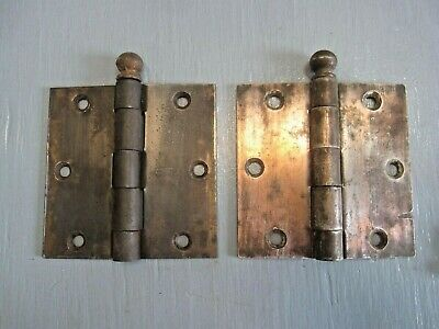 "Vintage Pair Stanley door hinges 3 1/2 "",cannon ball,steel,Made in U.S.A"