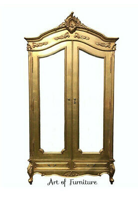 Gold Vintage French Antique Louis XV Style Carved Mirrored Armoire hand painted