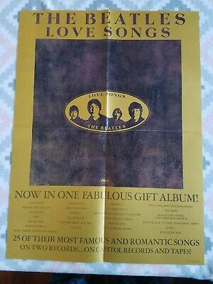 THE BEATLES LOVE SONGS ORIGINAL PROMO POSTER - 24 x 18 inches Capitol 1977