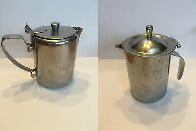 Lot of 2 Stainless Steel Metal Creamer Small Pitcher Flip Top Hinged Lid (Two)