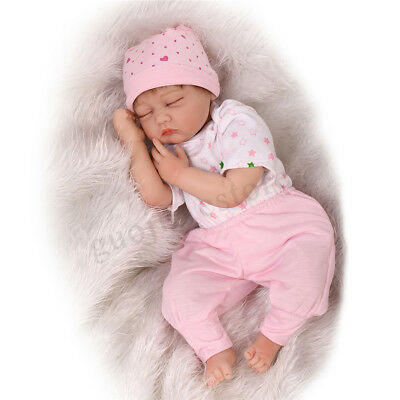 22'' Handmade Reborn Baby Porcelain Dolls Newborn Silicone Sleeping Girl Doll